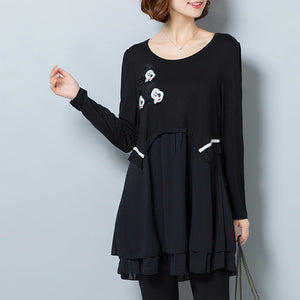 Fashion casual black false two pieces cotton blended dresses plus size  ruffles dresses