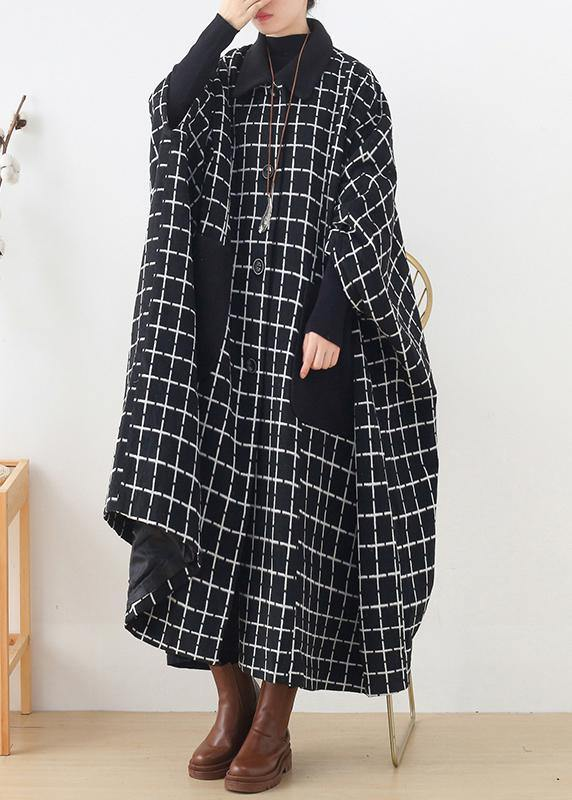 Fashion casual maxi coat outwear black white plaid lapel pockets Woolen Coats