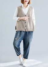 Load image into Gallery viewer, Fashion fall light khaki knit tops oversize sleeveless clothes For Women