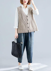 Fashion fall light khaki knit tops oversize sleeveless clothes For Women