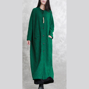 Fashion green maxi coat casual Stand pockets Wool Coat women long sleeve baggy coat