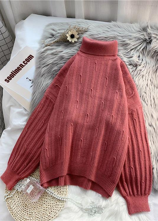Fashion high neck  purpke redknit tops oversized cable knitted top
