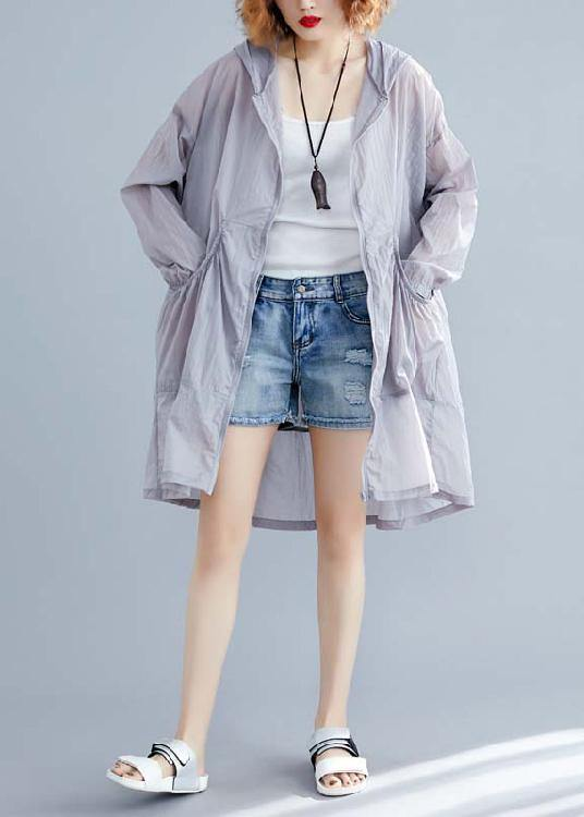 Fashion light gray cardigan Loose fitting hooded long sleeve