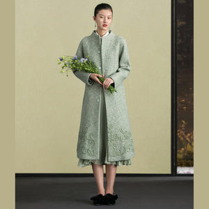 Fashion light green woolen outwear trendy plus size stand collar winter jackets embroidery women coats