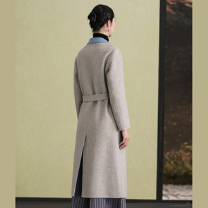 Fashion light khaki wool coat casual back open Coats lapel collar coats