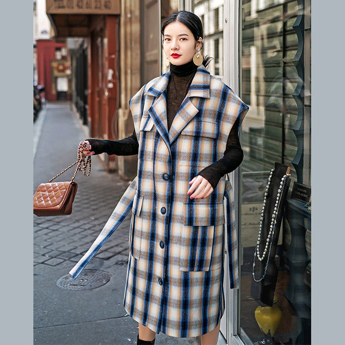 Fashion navy Plaid long coat plus size Notched tie waist Coats women pockets Sleeveless long jackets