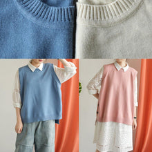 Load image into Gallery viewer, Fashion nude knitted top oversized o neck knit tops low high design