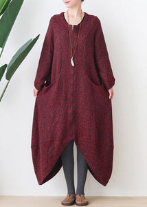 Fashion oversize medium length coat winter coats red v neck asymmetric Wool jackets