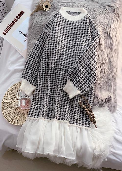 Fashion patchwork Sweater outfits Design cute Mujer o neck knit dress