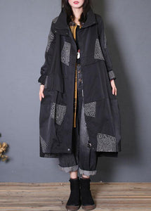 Fashion plus size Coats fall black zippered coats