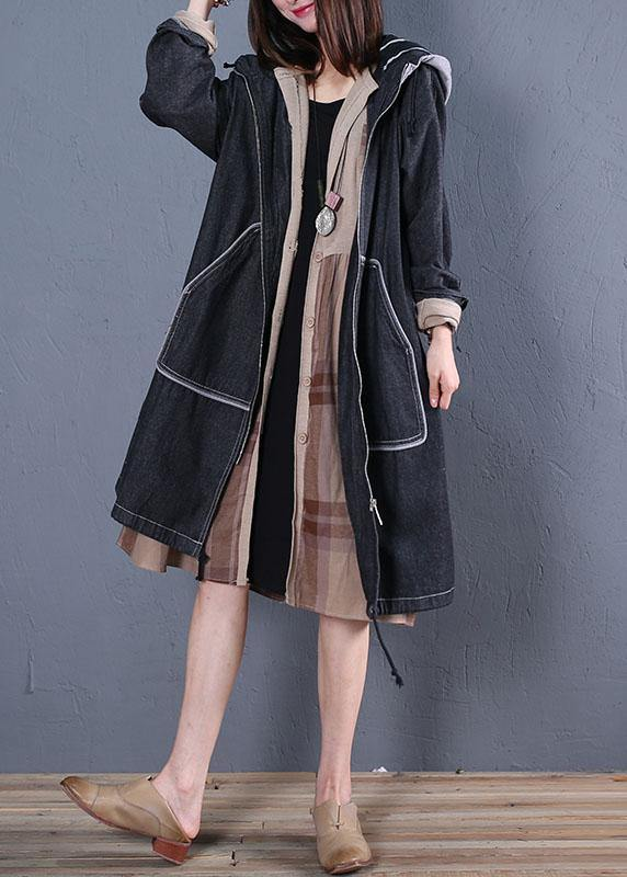 Fashion plus size trench coat fall black hooded overcoat