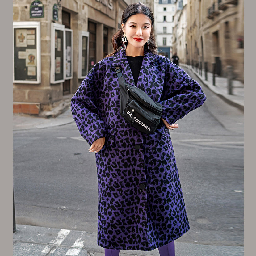 Fashion purple Leopard coats oversize Notched outwear Elegant pockets wool jackets