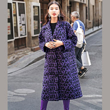 Load image into Gallery viewer, Fashion purple Leopard coats oversize Notched outwear Elegant pockets wool jackets