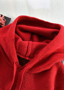 Fashion red Sweater weather Vintage hooded drawstring Hipster knitwear
