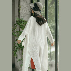 Fashion white Winter coat oversized V neck embroider Winter coat women side open Winter coat