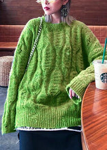 Load image into Gallery viewer, Fashion winter green sweaters plus size o neck patchwork Hole knit blouse