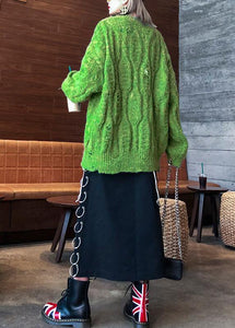 Fashion winter green sweaters plus size o neck patchwork Hole knit blouse