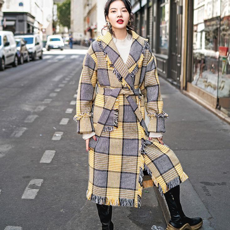 Fashion yellow Plaid coats casual Notched outwear 2018 pockets tassel Coats