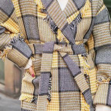 Load image into Gallery viewer, Fashion yellow Plaid coats casual Notched outwear 2018 pockets tassel Coats