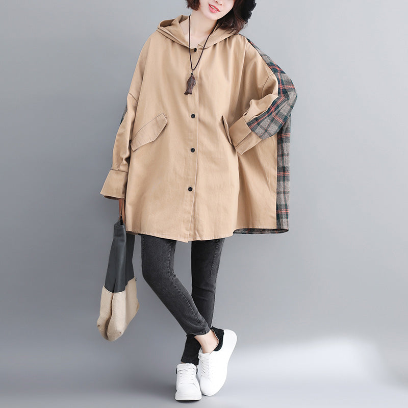 Fashion yellow cotton outwear oversized hooded winter jackets patchwork women coats