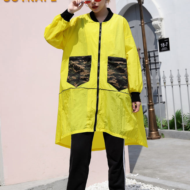 Fashion yellow thin Coat casual low high cardigans Fashion big pockets jackets