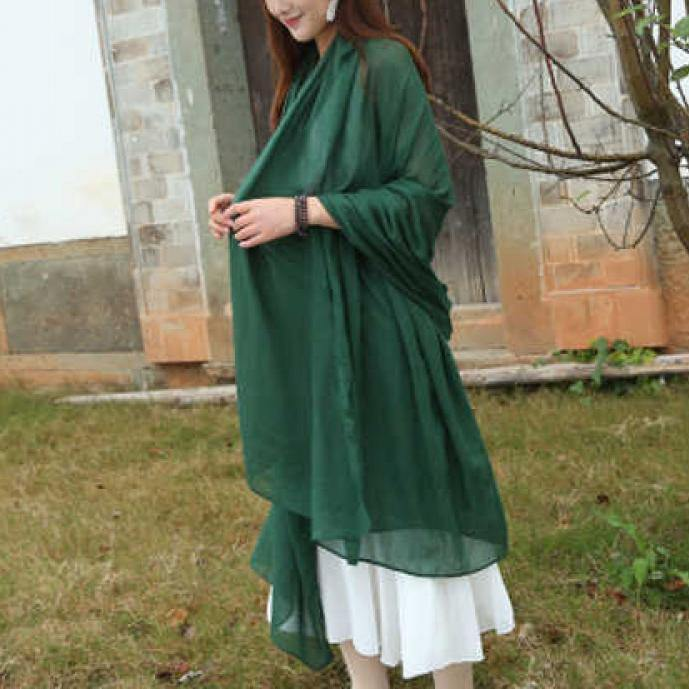 Female bib Korean wild long shawl wild green silk scarf