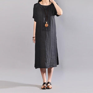 Fine Midi-length linen dress trendy plus size Summer Round Neck Short Sleeve Pure Color Flax Dress