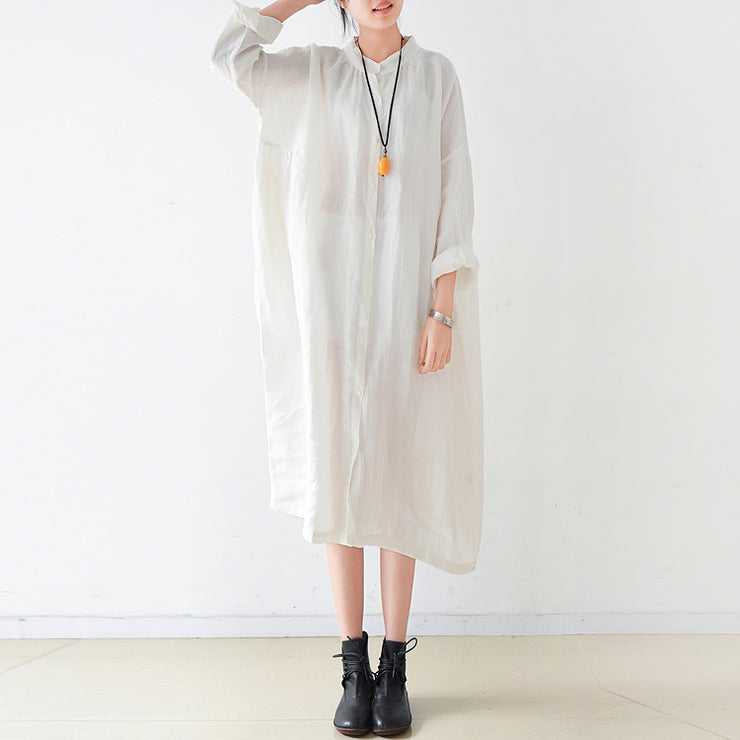 Fine White linen shirt dresses plus size women dress 2021 autumn