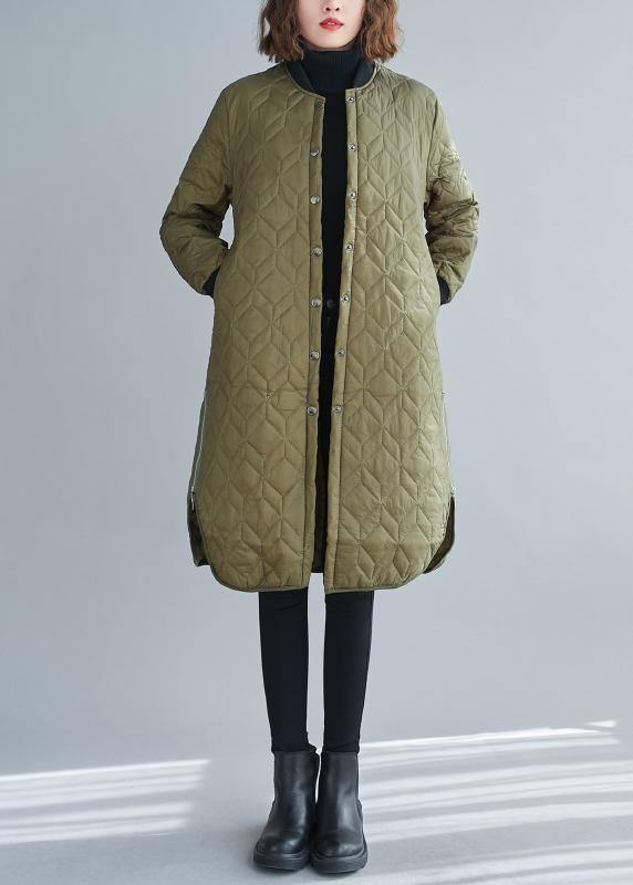 Fine army green winter coats trendy plus size snow o neck zippered overcoat