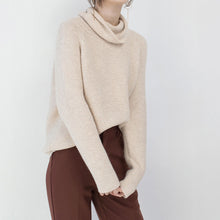 Load image into Gallery viewer, Fine beige sweater plus size clothing high neck knitted blouses 2018 baggy winter shirt