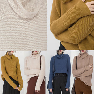 Fine beige sweater plus size clothing high neck knitted blouses 2018 baggy winter shirt