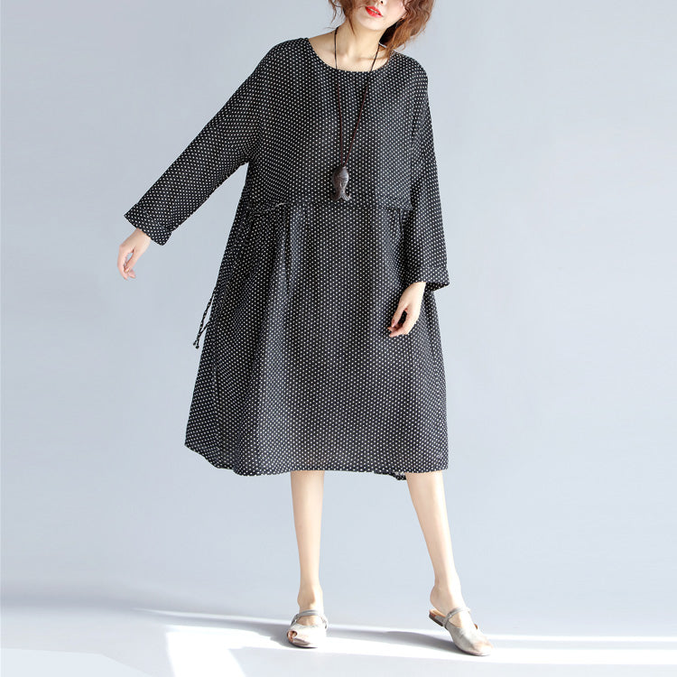 Fine black Midi-length cotton linen dress Loose fitting linen cotton dress vintage long sleeve large hem O neck tunic natural cotton linen dress