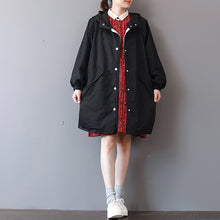 Load image into Gallery viewer, Fine black Winter coat Loose fitting hooded coat boutique big pockets long jackets