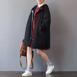 Fine black Winter coat Loose fitting hooded coat boutique big pockets long jackets