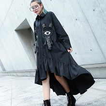 Load image into Gallery viewer, Fine black autumn shirt dress trendy plus size Turn-down Collar gown Fine asymmetrical design large hem shirt dress