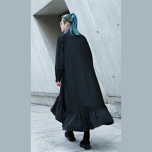 Fine black autumn shirt dress trendy plus size Turn-down Collar gown Fine asymmetrical design large hem shirt dress