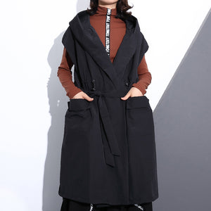 Fine black cotton blended tops plus size hooded tie waist clothing tops Elegant Sleeveless coats