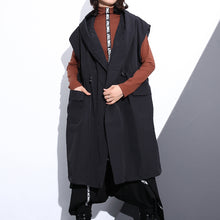 Load image into Gallery viewer, Fine black cotton blended tops plus size hooded tie waist clothing tops Elegant Sleeveless coats