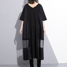 Load image into Gallery viewer, Fine black cotton maxi dress oversize v neck traveling dress Fine tassel pockets cotton caftans