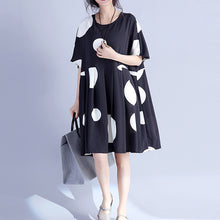 Afbeelding in Gallery-weergave laden, Fine black dotted pure cotton dress oversized cotton maxi dress casual o neck high waist knee dresses