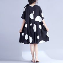Load image into Gallery viewer, Fine black dotted pure cotton dress oversized cotton maxi dress casual o neck high waist knee dresses