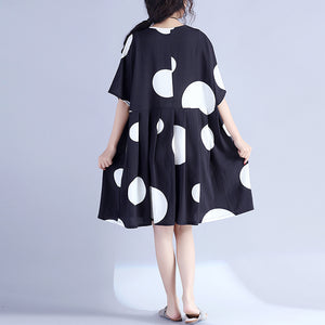 Fine black dotted pure cotton dress oversized cotton maxi dress casual o neck high waist knee dresses