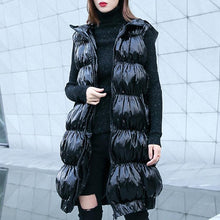 Load image into Gallery viewer, Fine black down jacket plus size hooded zippered down overcoat Warm Sleeveless tunic