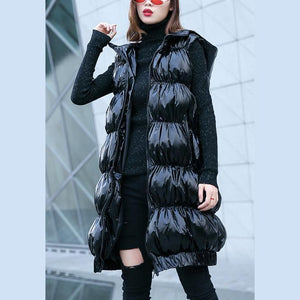Fine black down jacket plus size hooded zippered down overcoat Warm Sleeveless tunic