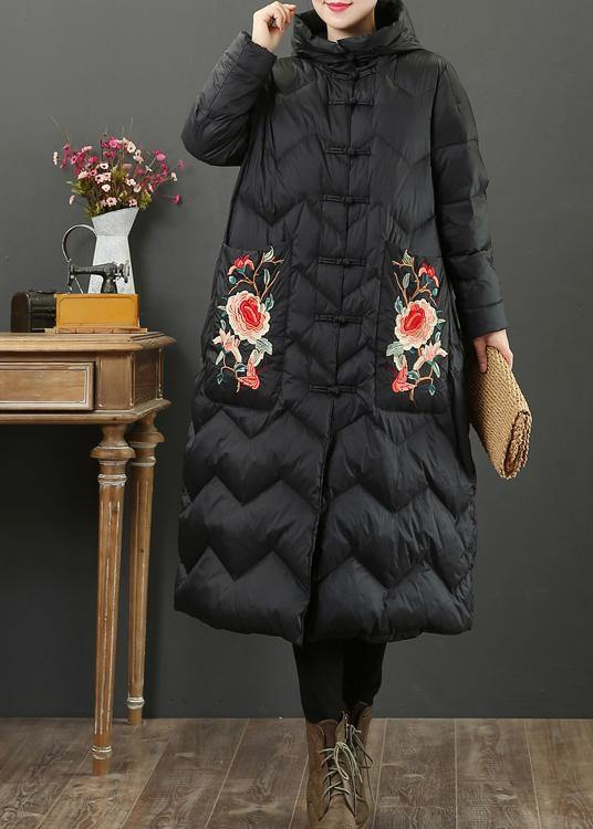 Fine black embroidery goose Down coat oversize down jacket hooded Fine Jackets