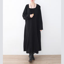 Load image into Gallery viewer, Fine black linen dress plussize V neck linen gown vintage hooded caftans