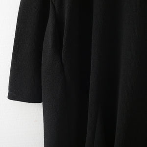 Fine black linen dress plussize V neck linen gown vintage hooded caftans