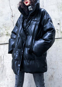 Fine black outwear plus size down jacket high neck zippered overcoat