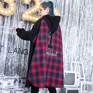 Fine black patchwork maxi coat trendy plus size hooded Winter Fine baggy coats