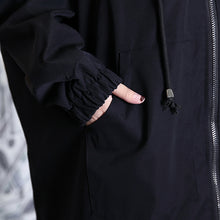 Load image into Gallery viewer, Fine black patchwork maxi coat trendy plus size hooded Winter Fine baggy coats